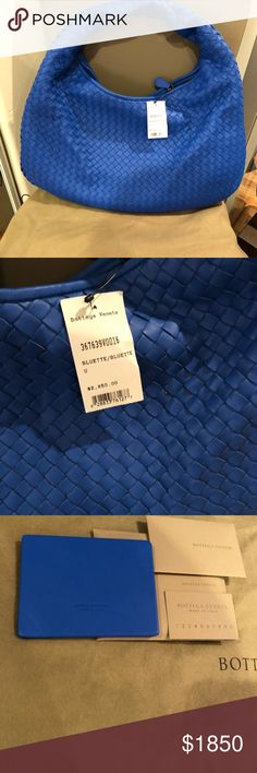New and Authentic BOTTEGA VENETA HOBO BAG BLUETTE Brand new and authentic  LARGE Bottega VENETA BAG IN BLUETTE MADE IN ITALY Rare BLUETTE COLOR Classic bag Comes with original tag, authentic documents, and dustbag Suede interior Bottega Veneta Bags Hobos