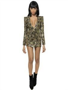 Balmain - Lurex And Silk Twill Jacquard Dress | FashionJug.com