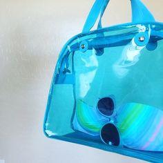 • Transparent Beach Tote • Transparent blue beach bag Bags