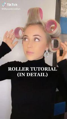 Hair Rollers Tutorial, Big Curls Tutorial, Hair Curling Tutorial, Hair Inspo, Hair Inspiration, Hairstyles With Curled Hair, Hair Upstyles, Aesthetic Hair, Hair Videos