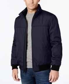 Calvin Klein Men's Stand-Collar Bomber Jacket  - Blue XXL