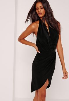 Missguided - Slinky Cowl Midi Dress Black Black Midi Dress a3e7d4391