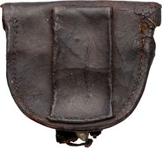 "Civil War Confederate Cap Box 3 1/2"" X 3 1/4"" brown leather cap box with single belt loop on the reverse, no tool marks. Made without inside flap, tip of latch tab torn, brass finial.Image #2"
