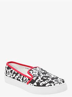 """Show your love for classic Disney wearing these black and white slip-on sneakers that feature a cute Mickey Mouse print on them with red trim and white soles.<ul><li style=""""LIST-STYLE-POSITION: outside !important; LIST-STYLE-TYPE: disc !important""""> Man-made materials </li><li style=""""LIST-STYLE-POSITION: outside !important; LIST-STYLE-TYPE: disc !important"""">Imported</li></ul>"""