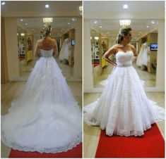 New White/Ivory Strapless Lace Organza A-line Wedding Dress
