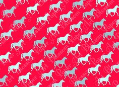 Hot Pink  Horses  Light Blue  Digital Paper  by blossompaperart, $1.30