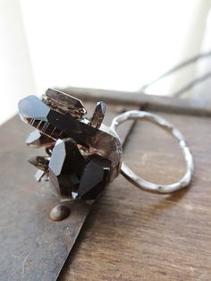 Smoky Quartz Statement Ring, Raw Crystal Ring, Sterling Silver Adjustable Ring, Statement Raw Stone Jewelry