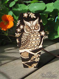 Owl Coffin Stash Box - pyrography woodburning