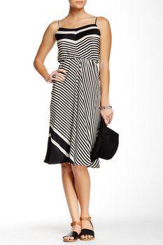 Beyond Vintage Striped Silk Dress