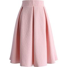 Chicwish Reminisce From Rose Embossed Midi Skirt in Baby Pink ($42) ❤ liked on Polyvore featuring pink