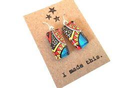 OOAK Blue Yellow Black Red Glass Tile Earrings Dangle Bright