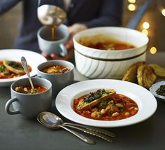 Minestrone soup-Bulk out this chunky vegetable soup with hearty sausage and cannellini beans, then serve with our tapenade ciabatta toasts Chunky Vegetable Soup, Vegetable Puree, Sausage Recipes, Meat Recipes, Recipies, Christmas Soup, Cheap Family Meals, Sausage Casserole, Soups