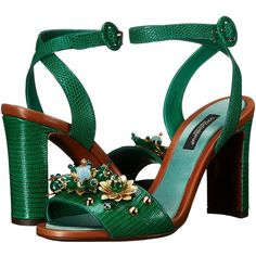 Dolce & Gabbana Sandals Women's Shoes ($995) ❤ liked on Polyvore featuring shoes, sandals, green, open toe platform sandals, platform slip on shoes, slip-on shoes, block heel sandals and open toe shoes