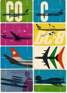 swissair - great colors and composition. Looks like these cards have slots that dovetail, creating maybe a retail display