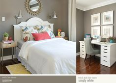 "From http://www.younghouselove.com/shop-our-house/ wall color in Benjamin Moore's ""Sparrow"""