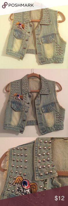 Studded denim crop Vest size 4 Cool studded vest with a cool Von Dutch patch, frayed sleeves, faded on purpose with button front. No label. Excellent condition. Size 2/4. Jackets & Coats Vests