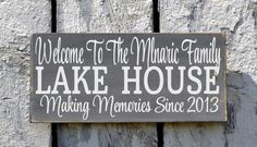 Lake House Sign, Lake Decor, Personalized Welcome To The Lake House Family Name Sign Established Date, Lake Gifts, Custom Wood Cabin Cottage Plaque Outdoor River House Decor, Lake House Signs, Cabin Signs, Cottage Signs, Lake Signs, Custom Wood Signs, Wooden Signs, Wooden Boards, Rustic Signs