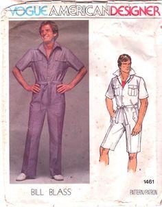 Vogue 1461 Mens Jumpsuit Pattern Bermuda or Length Vintage Sewing Pattern | PatternGate - Craft Supplies on ArtFire