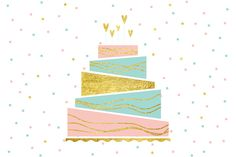 Birthday Cake Graphics Vector illustration of happy birthday card.You get:- One EPS 10 file- One JPG file ( by YuliyaKim Birthday Presents For Him, Happy Birthday Cards, Birthday Greetings, Birthday Wishes, Cake Birthday, Birthday Text, Birthday Fun, Birthday Ideas, Birthday Cake Illustration