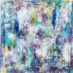 Morning Mist I 60x60 cm - Art by Lønfeldt - original abstract painting, modern textured art, colorful