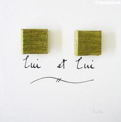 Lui et Lui Him & Him  book art green silk wall art by modulem, $40.00