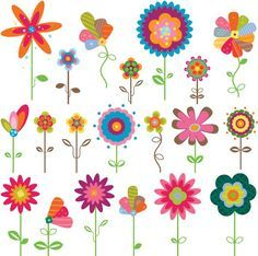 Colored cartoon flower label vector graphics