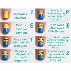 How to do minions nails art @Hillary Platt Bandley Platt Bandley Platt Bandley Flagg