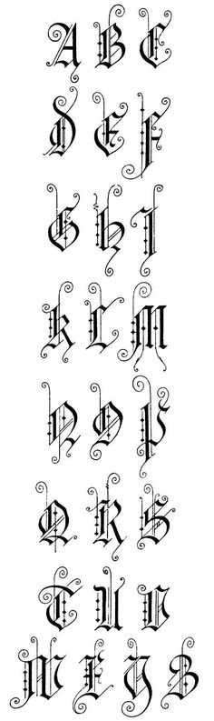 Gothic Lettering ✍ Sensual Calligraphy Scripts ✍ initials, typography styles and calligraphic art - German Gothic 2 - Capitals Gothic Lettering, Gothic Fonts, Creative Lettering, Hand Lettering Styles, Font Styles, Typography Letters, Letter Fonts, Alphabet Design, Capital Letters Calligraphy