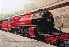 """""""Crab at Bolton Street"""" Drawing - A4 print £20 - LMS Hughes Crab 13065 built at Crewe in 1927  Pictured on platform 2 at Bolton Street Station, Bury  Please note that you are buying a Limited Edition print of my drawing, not the original  Prints will be signed, numbered and professionally mounted."""
