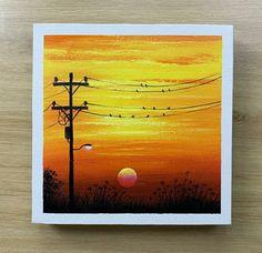 Easy Canvas Art, Simple Canvas Paintings, Small Canvas Art, Abstract Tree Painting, Canvas Painting Sunset, Posca Art, Oil Pastel Art, Sunset Art, Wow Art
