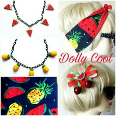 Watermelons and Pineapples FTW! This brand new fruity hairtie goes perfectly with the Watermelon Cherry bow and Back-in-stock 3D Pineapple and Melon necklaces! 🍉🍍🍉🍍🍉
