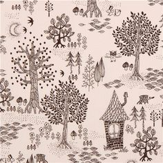 off-white forest owl house flower fabric from Japan 1