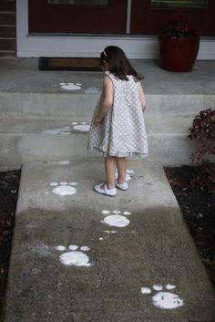 bunny tracks on the walkway..love it!