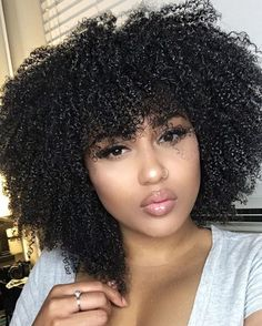 Glueless Lace Front Human Hair Wigs Density Afro Kinky Curly Peruvian Remy Hair Full Lace Wigs with Baby Hair Natural Hair Bangs, Curly Hair With Bangs, Natural Hair Tips, Natural Hair Journey, Curly Hair Styles, 4a Natural Hair Styles, Natural Baby, 4a Hair, Kinky Hair