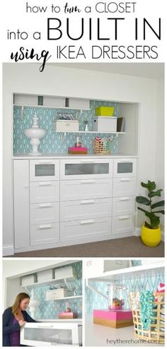 IKEA HACK How To Turn A Standard Closet Into A Built In For Craft Storage  Using IKEA Dressers~or~ Salon Storage!