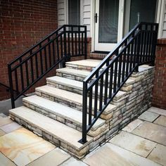 Deck railing isn't simply a safety and security attribute. It can add a spectacular visual to mount a decked location or veranda. These 36 deck railing ideas show you how it's done! Exterior Stair Railing, Metal Deck Railing, Outdoor Stair Railing, Front Porch Railings, Front Porch Steps, Patio Stairs, Front Stairs, Staircase Railings, Backyard Patio