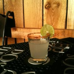 The Spicy Cucumber Shot - shot of Effen Cucumber Vodka and squeeze of half a lime shaken with ice poured in a chile salt rimmed shot glass (dash of Rose's Lime optional)