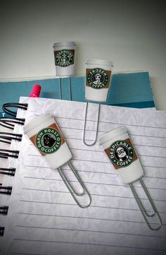 Coffee Planner Clips  Laminated Planner Clips  by TheBrindleBehr