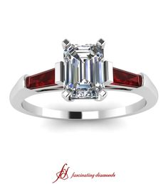 Trio Elegance Ring ||  Emerald Cut Diamond Three Stone Ring With Red Ruby In 14K White Gold