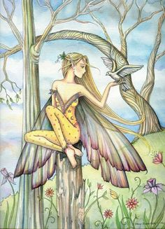 Fairy and White Dove Art by Molly Harrison - Messenger
