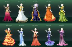 Commission : Flower themed royal gowns by fantazyme.deviantart.com on @DeviantArt - Another set of lovely gowns that I would love to see come to life.