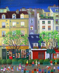 Paris - Shakespeare And Company - Cellia Saubry French Naive Artist Henri Rousseau, Figure Painting, Painting & Drawing, Illustrations, Illustration Art, Naive Art, Tour Eiffel, French Artists, Pablo Picasso