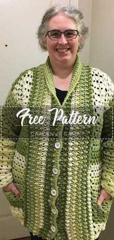 Cake Envy Cardi - Free Pattern Go to the free pattern Here Crochet Coat, Crochet Cardigan Pattern, Crochet Clothes, Easy Crochet, Free Crochet, Crochet Patterns, Crochet Shrugs, Crochet Sweaters, Caron Yarn