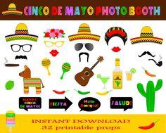 Cinco De Mayo Photo Booth Props–32 Pieces-Printable Mexican Party Props-Mexican Fiesta Photo Booth Props-5 De Mayo Party-Instant Download