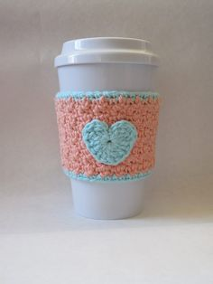 Peach and Robin's Egg Blue Crochet Heart Coffee Cup Cozy