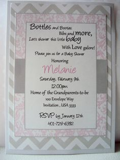 Baby Shower invitation Pink and Grey Invitation by TooCuteInvites