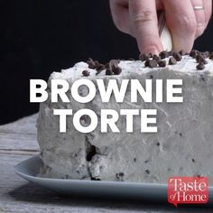 Brownie Torte Recipe (sub mini chocolate chips for walnuts and make the whip cream mocha flavored) Baking Recipes, Cake Recipes, Dessert Recipes, Delicious Desserts, Yummy Food, Tasty, Torte Recipe, Chocolate Desserts, Flourless Chocolate