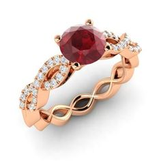 Round Ruby Ring in 14k Rose Gold with SI Diamond