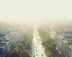 Paris Art, Travel Photography, City View, Fine Art Print, Warm Yellow, Wall Art, Urban, Street - Staring into the Sun 8x10 $30