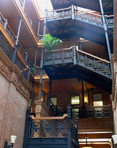 Los Angeles the Bradbury Building staircase, the most used & recognized in sci fi most know for Blade runner